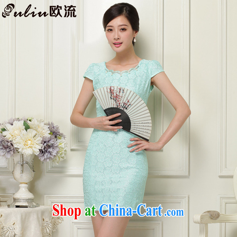 The stream, summer lace hook flower Openwork fashion round collar short-sleeved qipao JT 1032 green XL