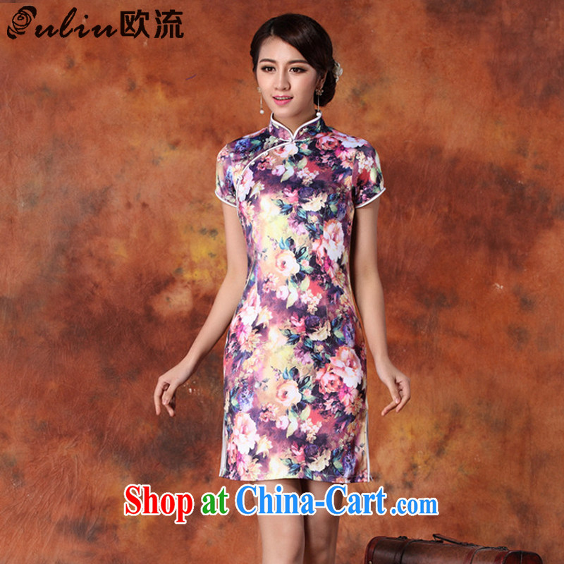 The class 2015 summer National wind, qipao upscale retro short-sleeve cultivating cheongsam dress female JT 1013 purple XXL