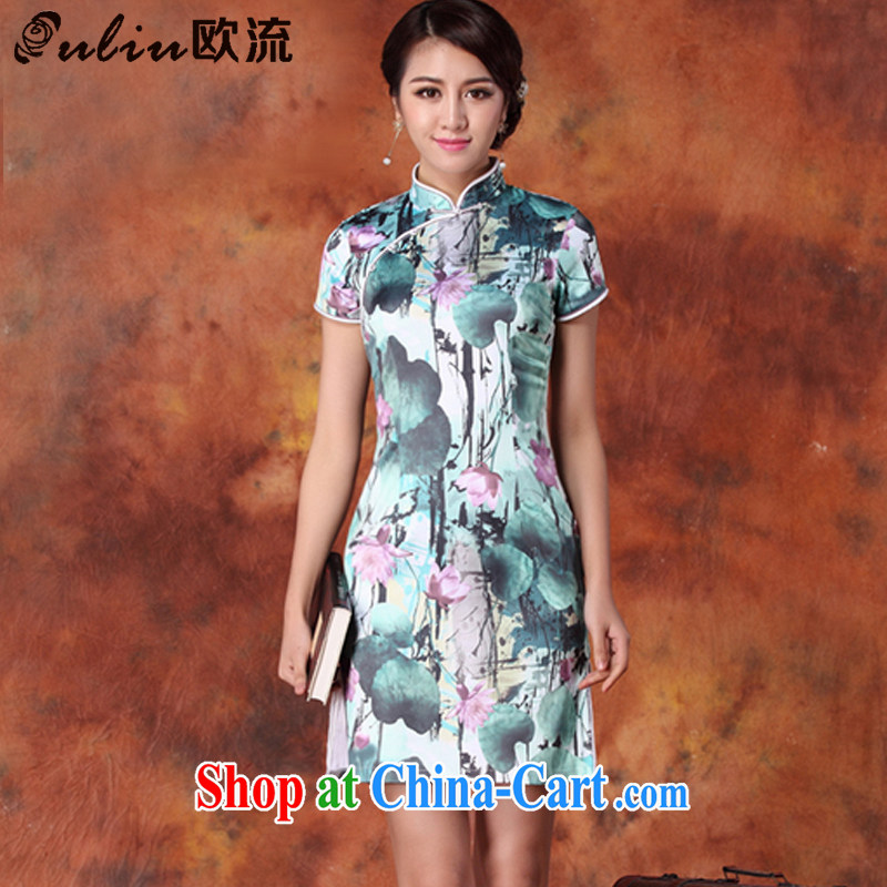The first class female cheongsam Chinese Ethnic Wind stamp cheongsam improved cultivating short-sleeved qipao JT 1013 _blue and purple XXL
