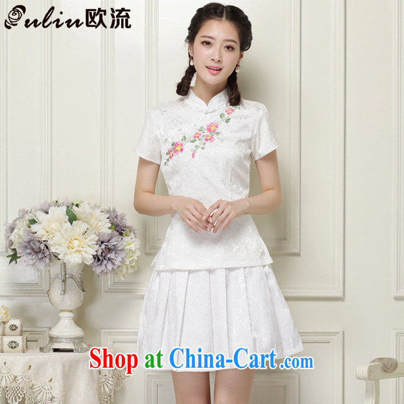 The trendy improved cheongsam Chinese nation has no open's a tight two-piece short set JT 2068 white XL
