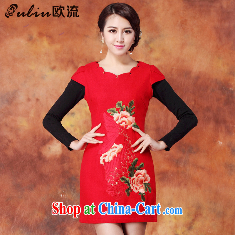 The stream embroidered wool? Short cheongsam red short cheongsam JT 1086 red XXL