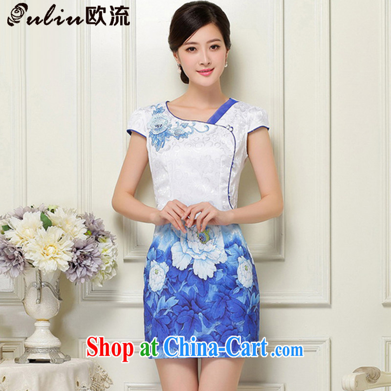 The trendy V for larger female dresses Ethnic Wind stamp improved cultivating short cheongsam JT 1039 blue XL