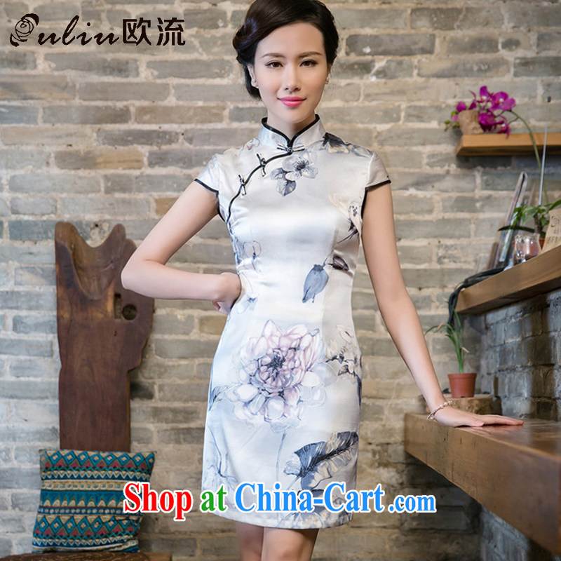 The high flow improved silk retro sauna beauty silk graphics thin cheongsam dress JT 5080 white XXL