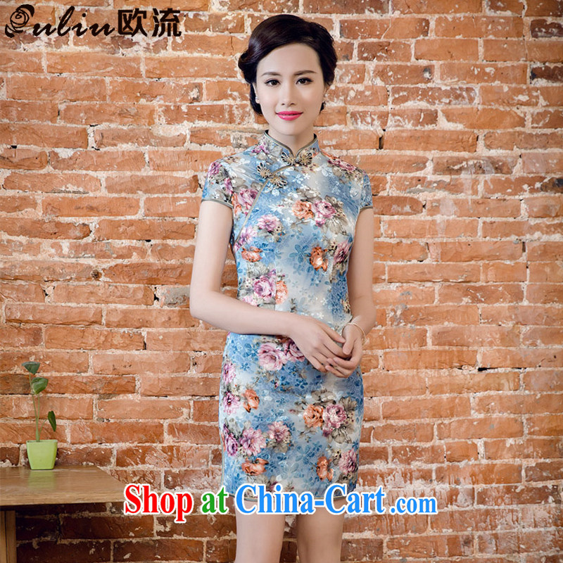 The current Korean velvet poster stamp manual tray snap improved cheongsam dress JT 5082 blue XXL