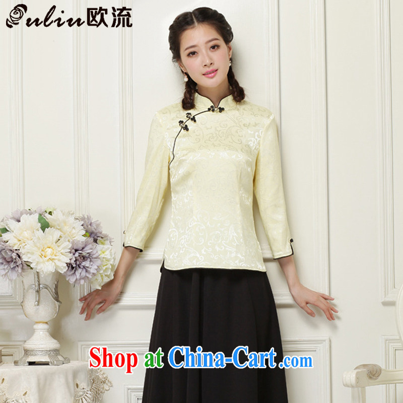 European-style Chinese T-shirt hand-tie stylish short-sleeve improved cheongsam shirt JT 1052 yellow XXL