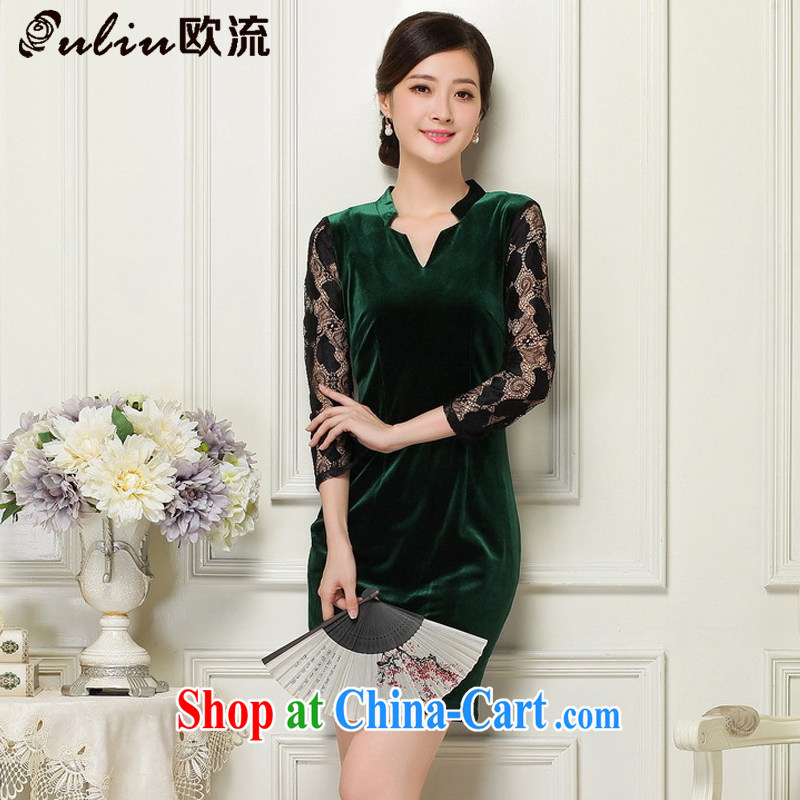 The leading female velvet cheongsam beauty Deep V collared 7 cuff antique dresses JT 1060 dark XL