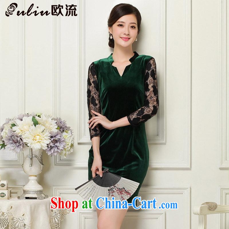 The leading female velvet cheongsam beauty Deep V collared 7 cuff antique dresses JT 1060 dark XL