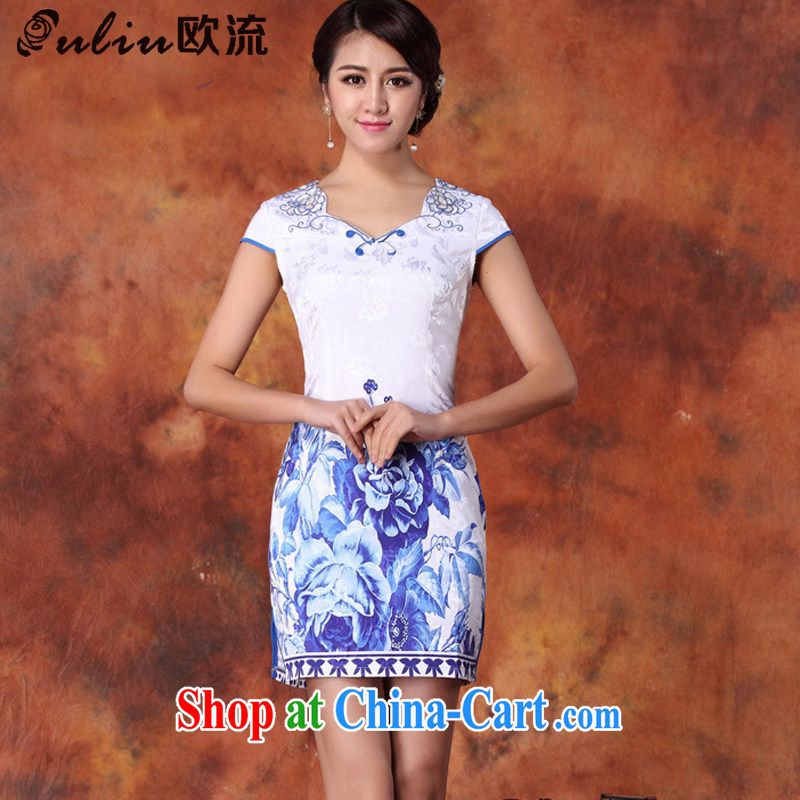 The class beauty style cheongsam digital stamp cheongsam dress JT 1016 blue XL