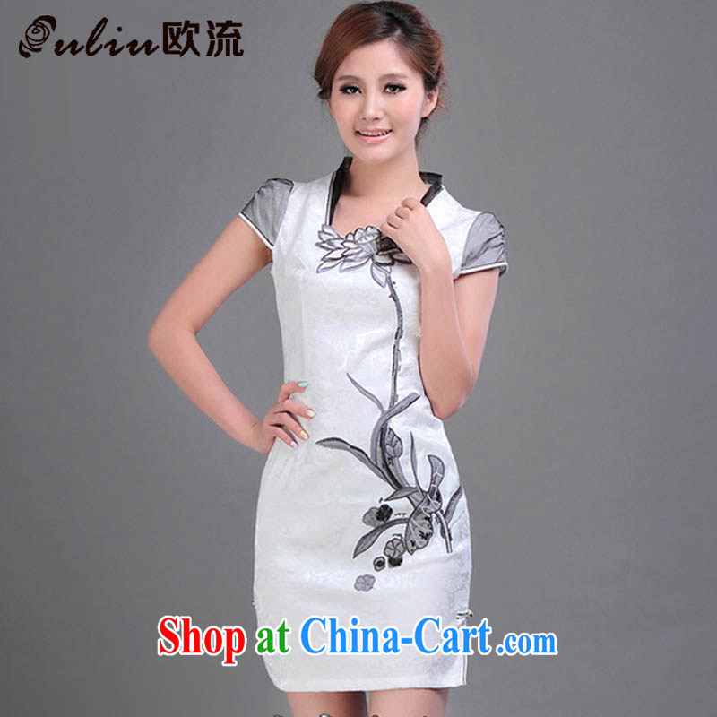 The current National wind Lotus embroidery cheongsam stylish beauty, for improved fashion cheongsam JT 328 _white XXL