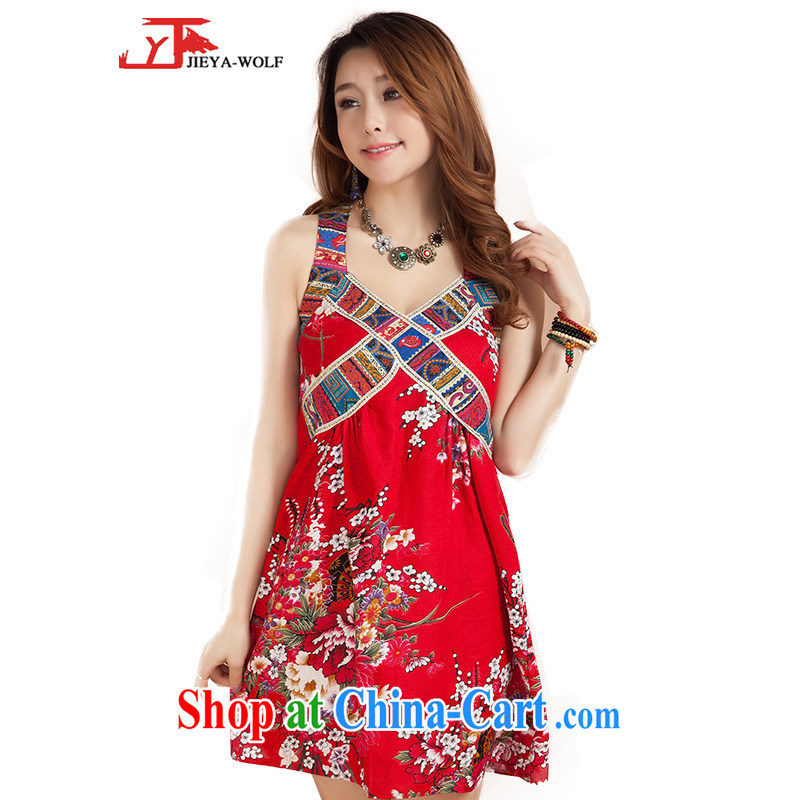 Cheng Kejie, Jacob JIEYA - WOLF New Tang Women's clothes summer hanging basket with the short skirt and stylish, the strap short skirt kit, Jacob hit mine red Peony flowers are, see the details table