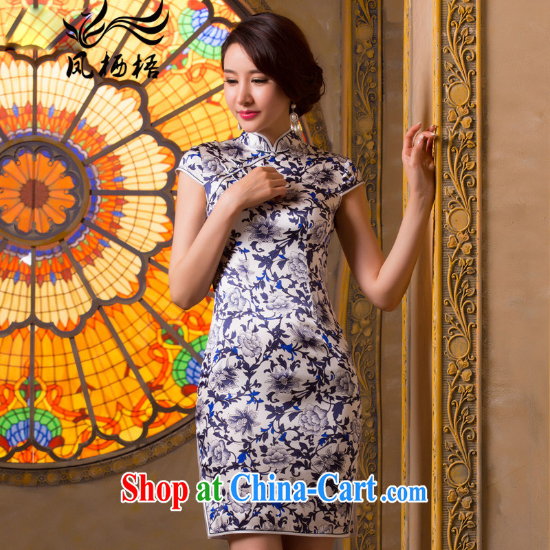 Bong-amphibious Ori-Cheong Wa Dae spent 2015 New Silk Cheongsam high quality sauna silk retro beauty cheongsam dress summer dresses 1501 DQ XXL suit
