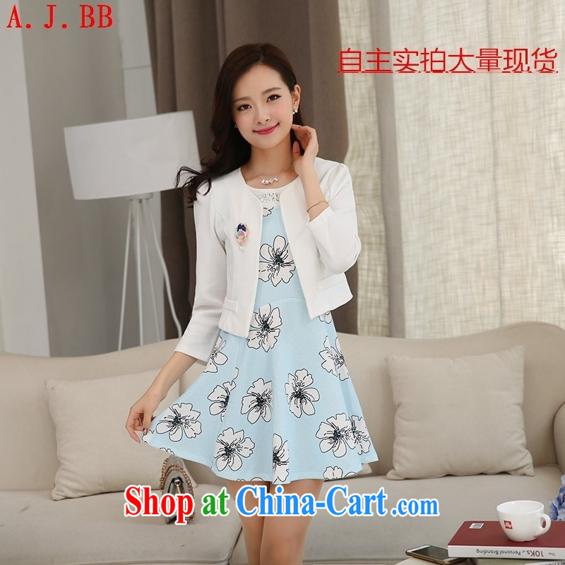 Black butterfly 2015 spring new Korean version in cultivating Long, two-piece dress light blue XL