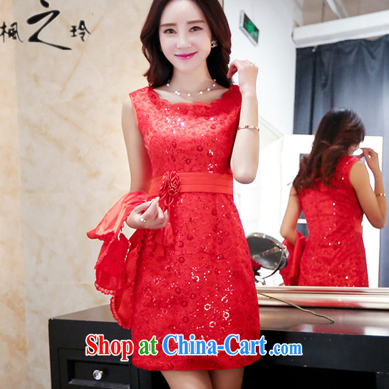 2015 summer new stylish XL short red shawl dress two-piece wedding dresses female Red L