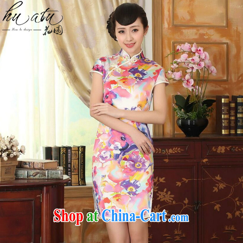 Take the heavy silk summer retro classic, DOS SANTOS for silk painting stretch the improved double short cheongsam 7 color 2 XL