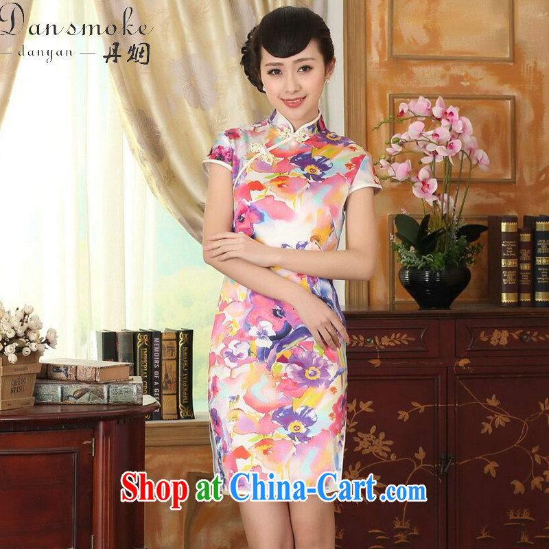 Dan smoke heavy silk summer retro classic, DOS SANTOS for silk painting stretch the improved double short cheongsam 7 color 2 XL