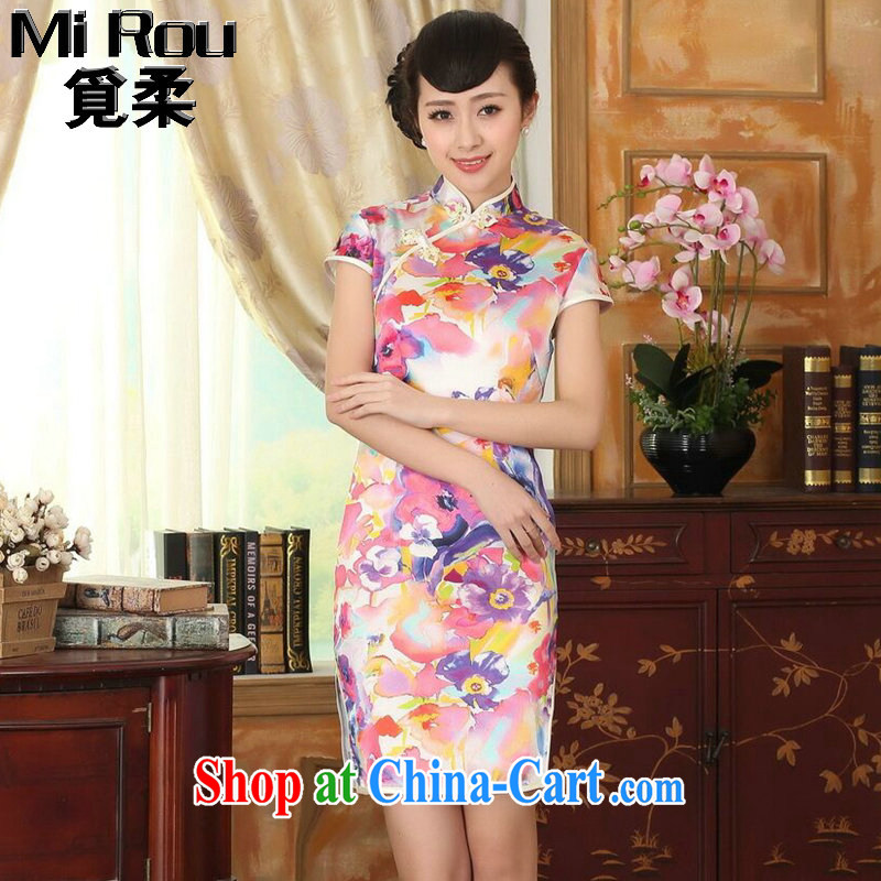 Find Sophie heavy silk summer retro classic, DOS SANTOS for silk painting stretch the improved double short cheongsam 7 color 2 XL