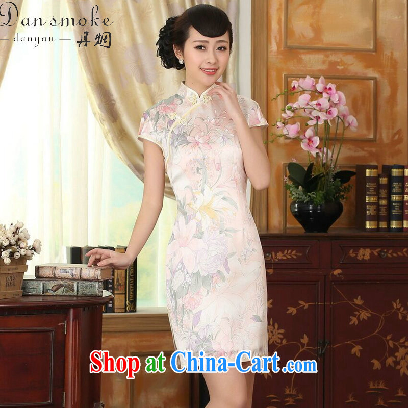 Bin Laden smoke-free summer dress silk retro classic stylish sauna silk poster stretch the improved double short cheongsam dress such as the color 2 XL