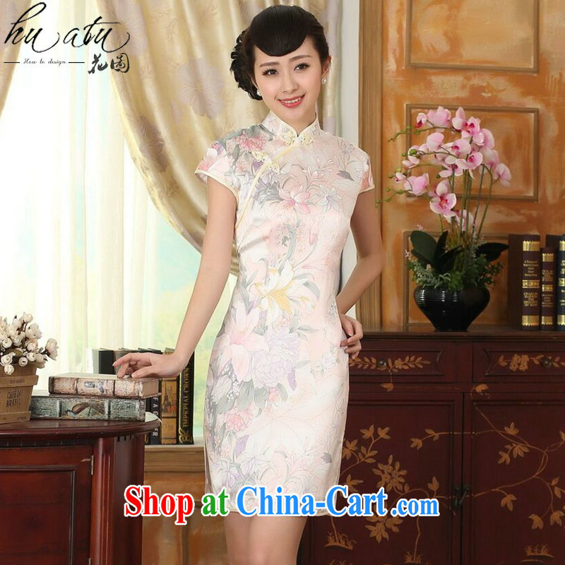spend the summer Women's clothes silk retro classic stylish sauna silk poster stretch the improved double short cheongsam dress such as the color 2 XL