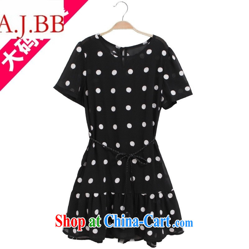 A . J . BB * 2015 summer new, larger female embroidery online wave point dress with belt + strap vest kit A 1451 single color Large code XXXL