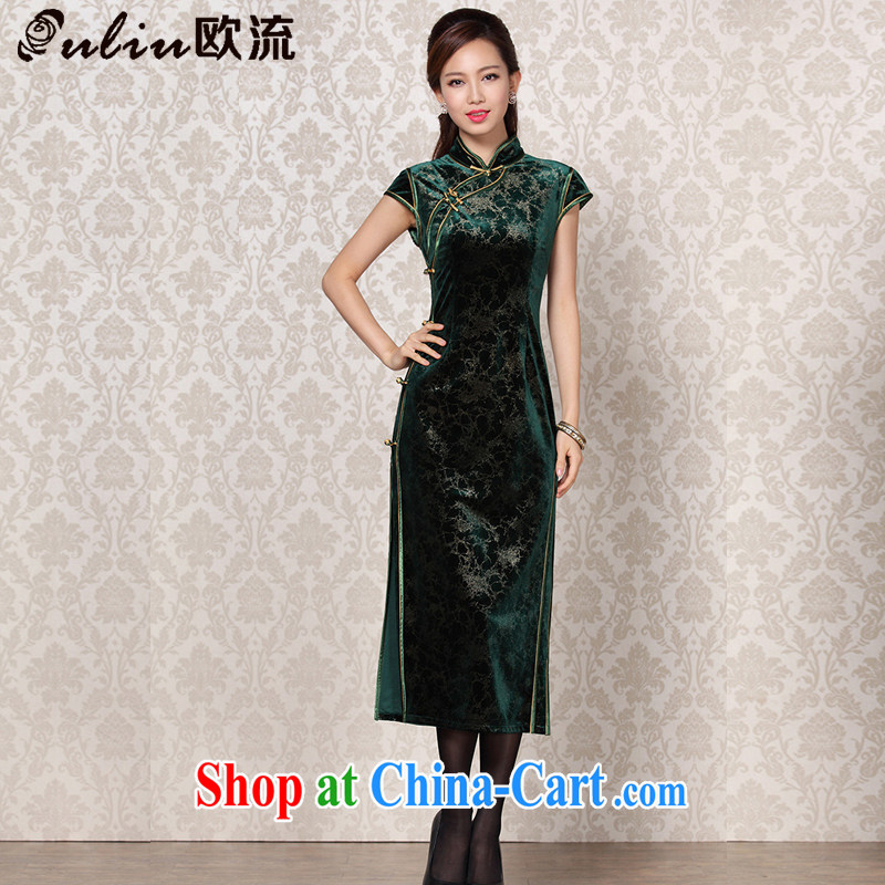 The stream is silk velvet improved stylish dresses and elegant antique banquet, qipao XWG 13 - 6098 dark XXL