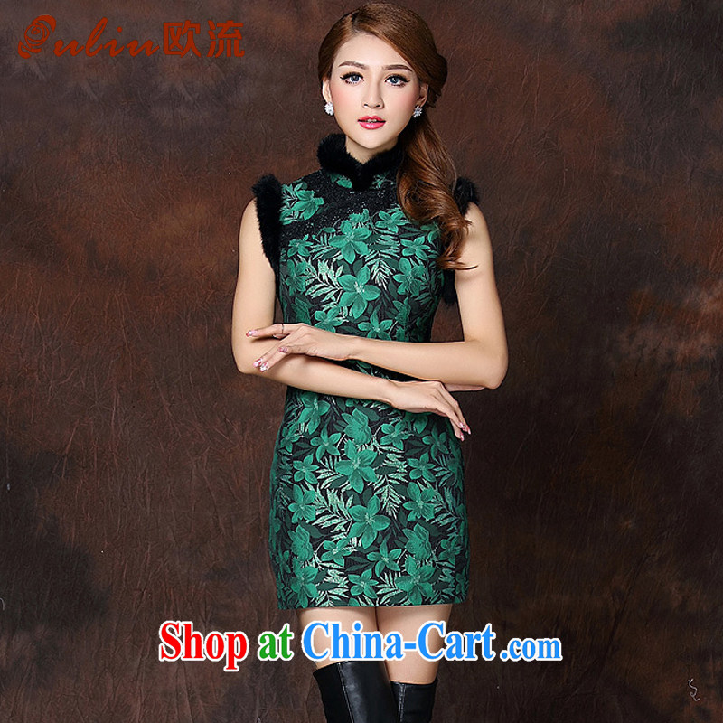 The flow improved stylish spell gross sleeveless quilted is not the Lao short cheongsam XWG 141,013 dark XXL
