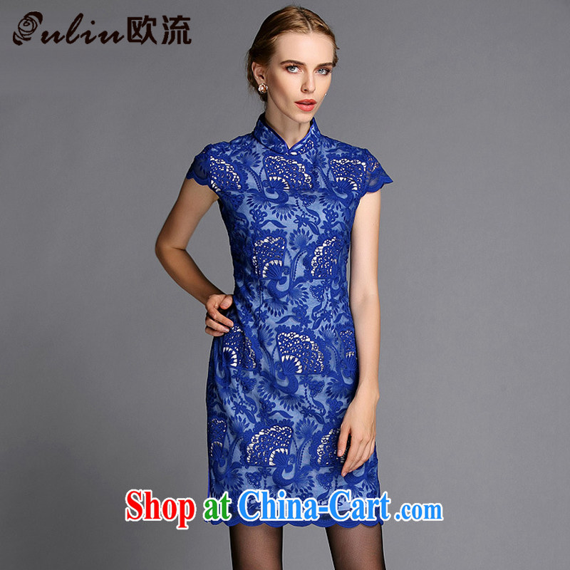 The stream high-end Openwork embroidery improved stylish big beauty cheongsam dress XWG 140,301 blue XXXL
