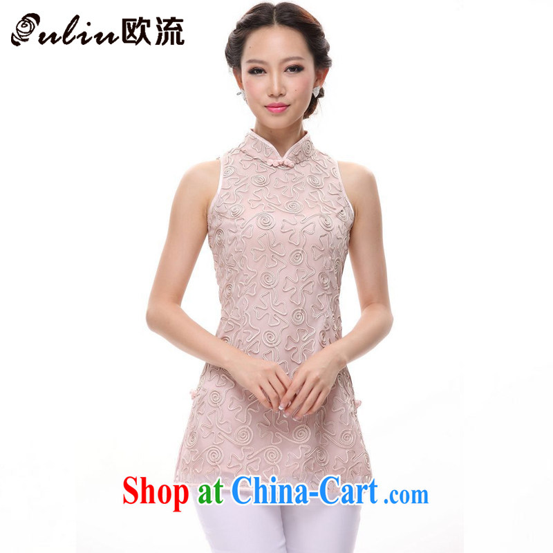 The stream summer antique Chinese Chinese is a qipao, Chinese T-shirt XWG 1207 - 8 pink S