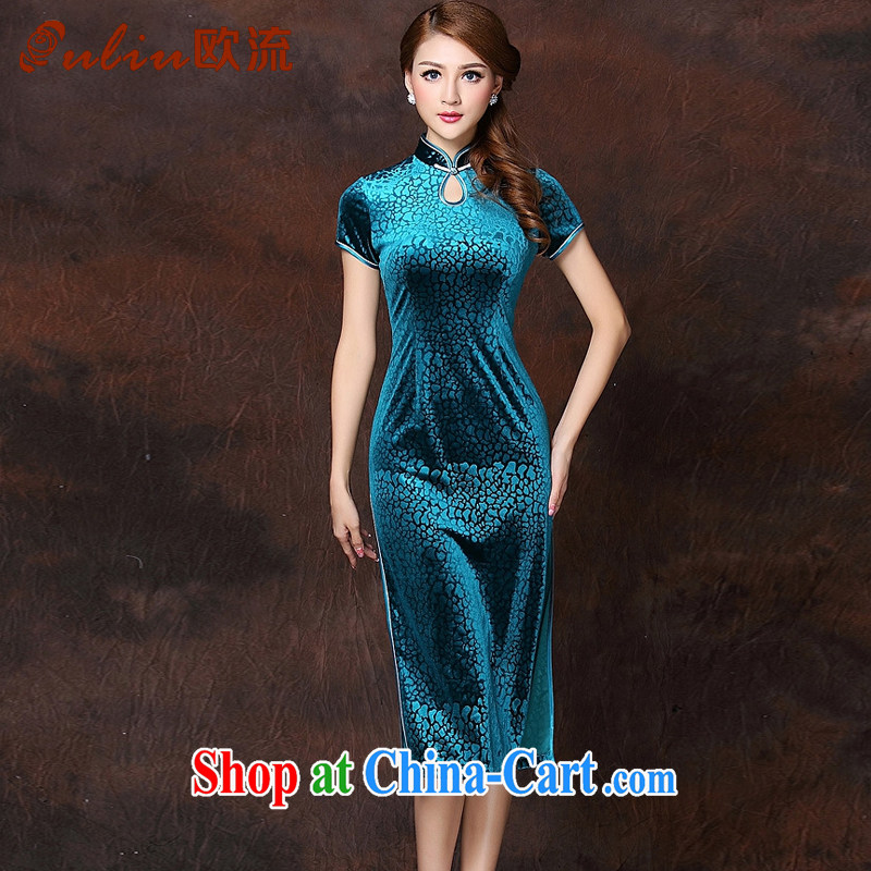 The flow improved Stylish retro-Ms. lao daily wool long cheongsam XWG 141,026 - 1 Lake blue XXXXL