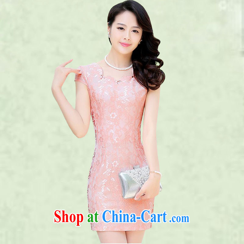 Spring cicada female daily improved short dresses summer 2015 New Beauty round-collar lady in style package and lace the code dress 6128�pink L