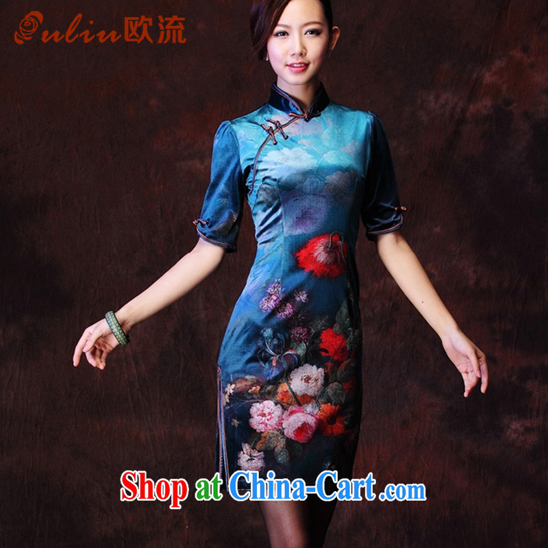 The current Korean lint-free stamp stylish improved retro cuff in everyday dresses XWG 1208 - 28 blue XXXL