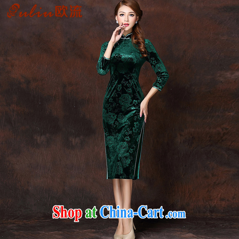 The flow improved Stylish retro embossed 7 cuff wool long cheongsam XWG 141,008 green XXXL