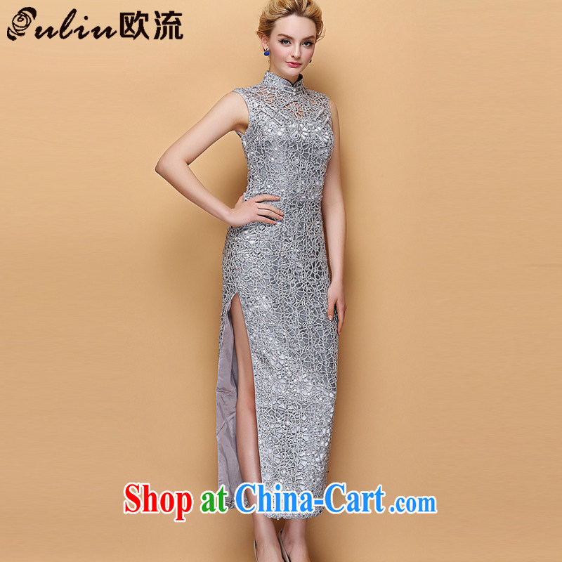 The improved flow and stylish collar dress Openwork, cultivating banquet long cheongsam XWG 140,301 silver M