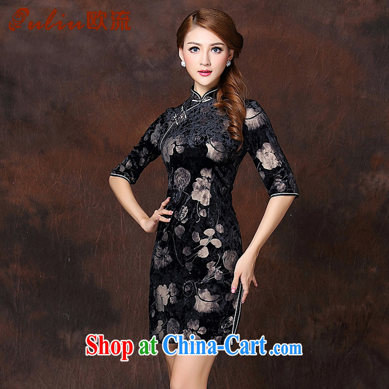 The first class stamp improved Stylish retro 7 cuff wool short cheongsam XWG 141,003 black XXXXL