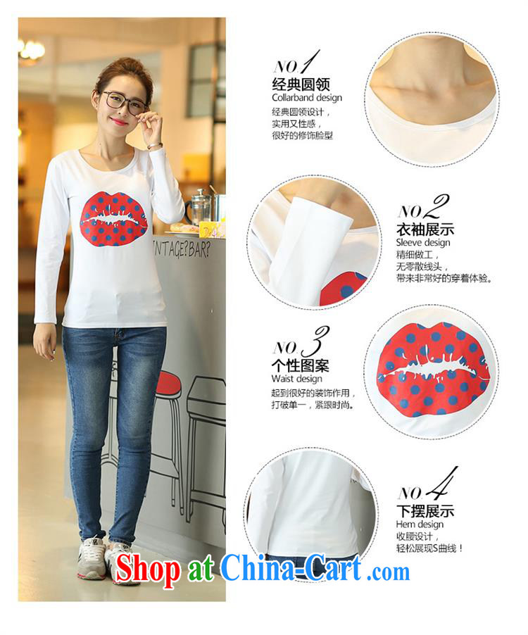 Deloitte Touche Tohmatsu sunny store burglary, Autumn 2015 the new stamp duty cotton-girl T-shirt village long-sleeved clothes sexy red lips T-shirt white XXL pictures, price, brand platters! Elections are good character, the national distribution, so why buy now enjoy more preferential! Health