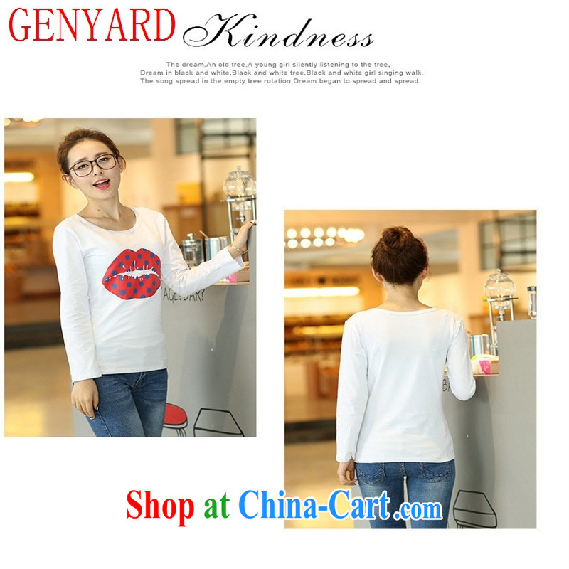 Qin Qing store burglary, Autumn 2015 the new stamp duty cotton spinning and female T-shirt village long-sleeved clothes sexy red lips T-shirt white XXL, GENYARD, shopping on the Internet