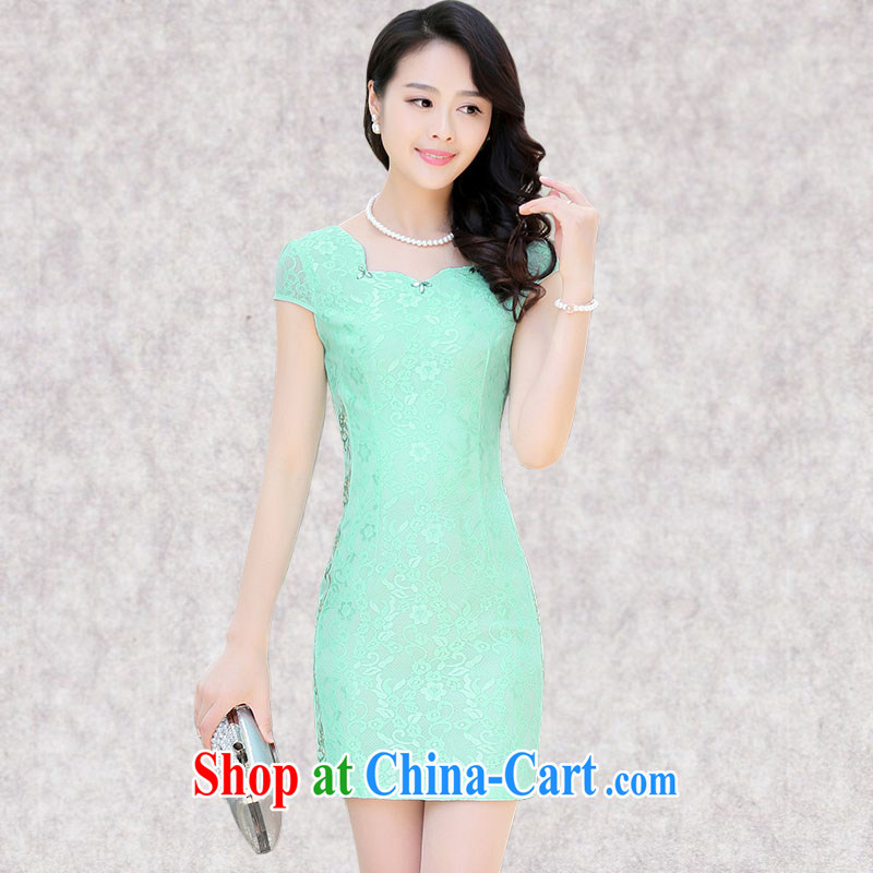 Constitution, spend a lot, girls in summer 2015 new daily improved short cheongsam beauty with Mrs temperament package and lace dresses 6126 green XXXL
