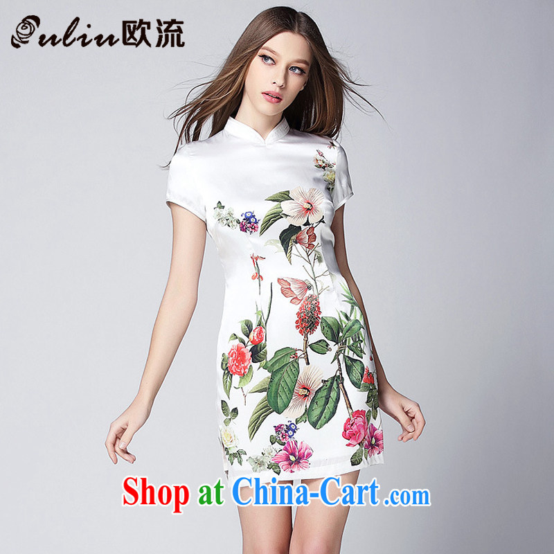 The flow improved stylish silk stamp short cheongsam dress XWG 150,368 white XL
