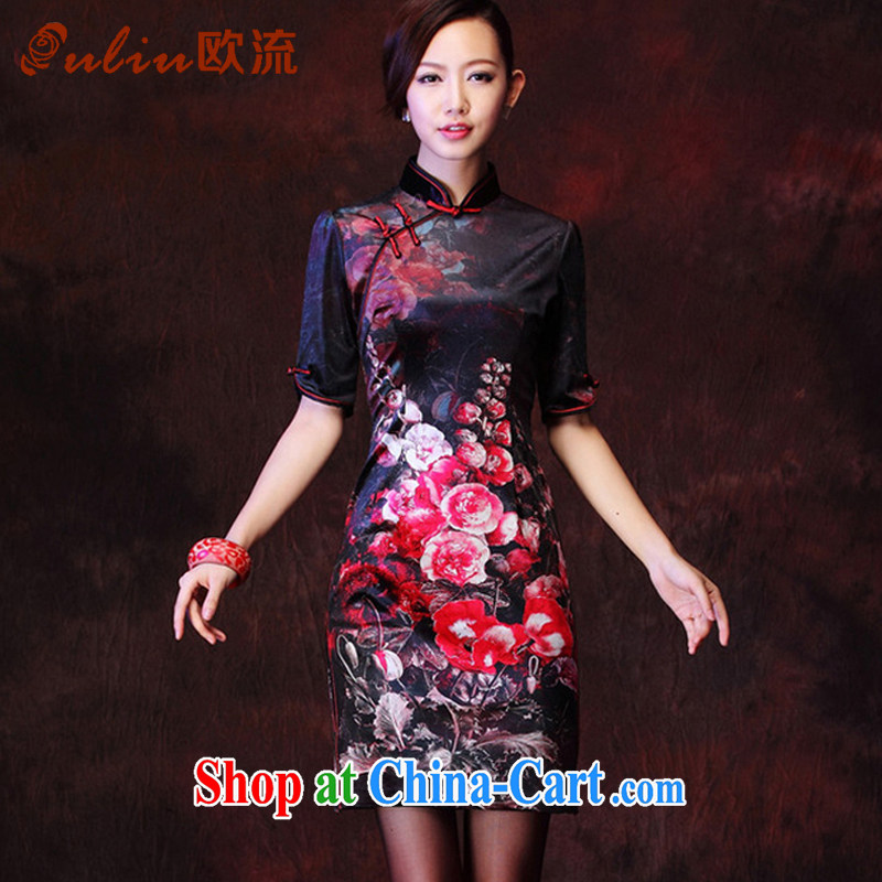 The current Korean velvet stamp retro improved marriage stylish bows elegant qipao XWG 1208 - 27 black XXXL