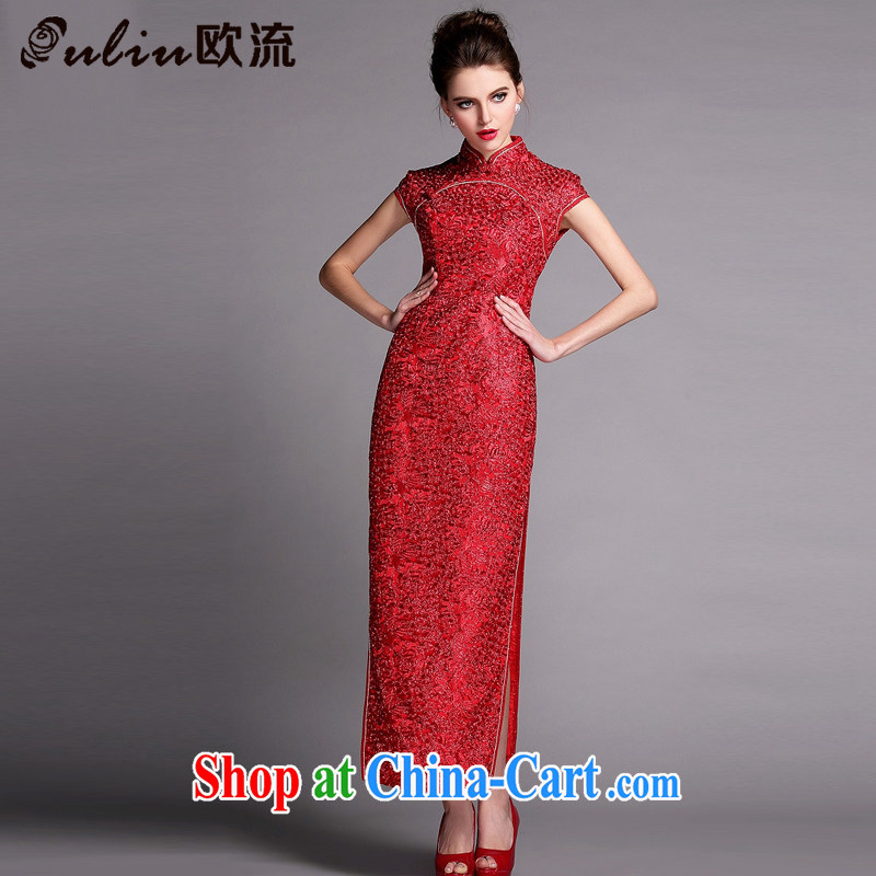 The flow improved fashion industry beauty banquet long dresses wedding dress toast XWG serving 140,507 red XXL