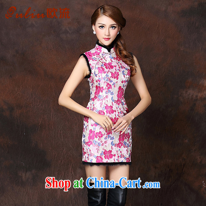 The improved flow and stylish sleeveless Folder unit does not turn on Ms. Lao cheongsam dress XWG 141,014 pink XL