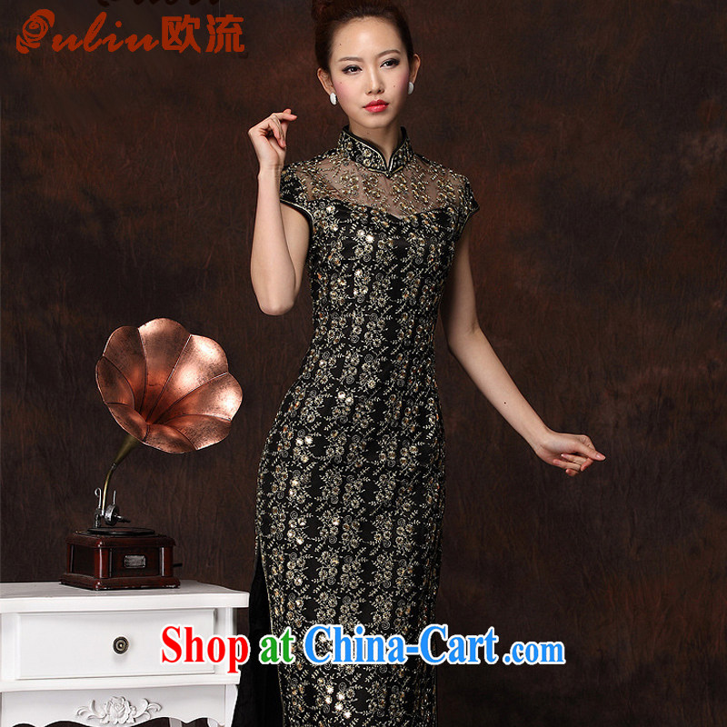The flow improved stylish long cheongsam embroidery high's sexy retro banquet cheongsam dress XWG 134 - 1 black XXXL
