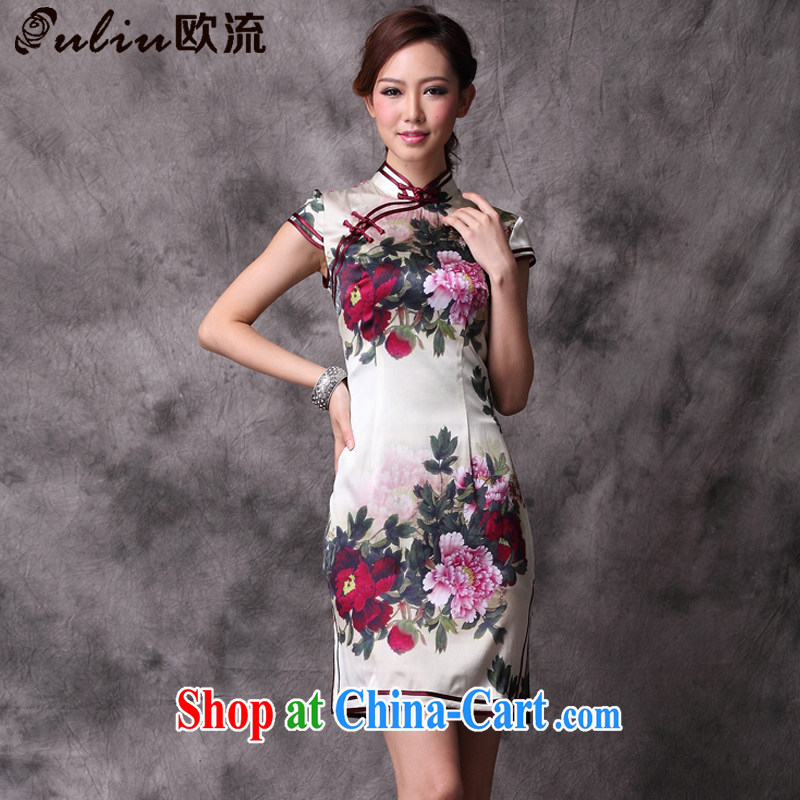 The stream summer heavy Silk Cheongsam improved Stylish retro upscale cheongsam dress XWG 12,018 - 18 figure XXXL