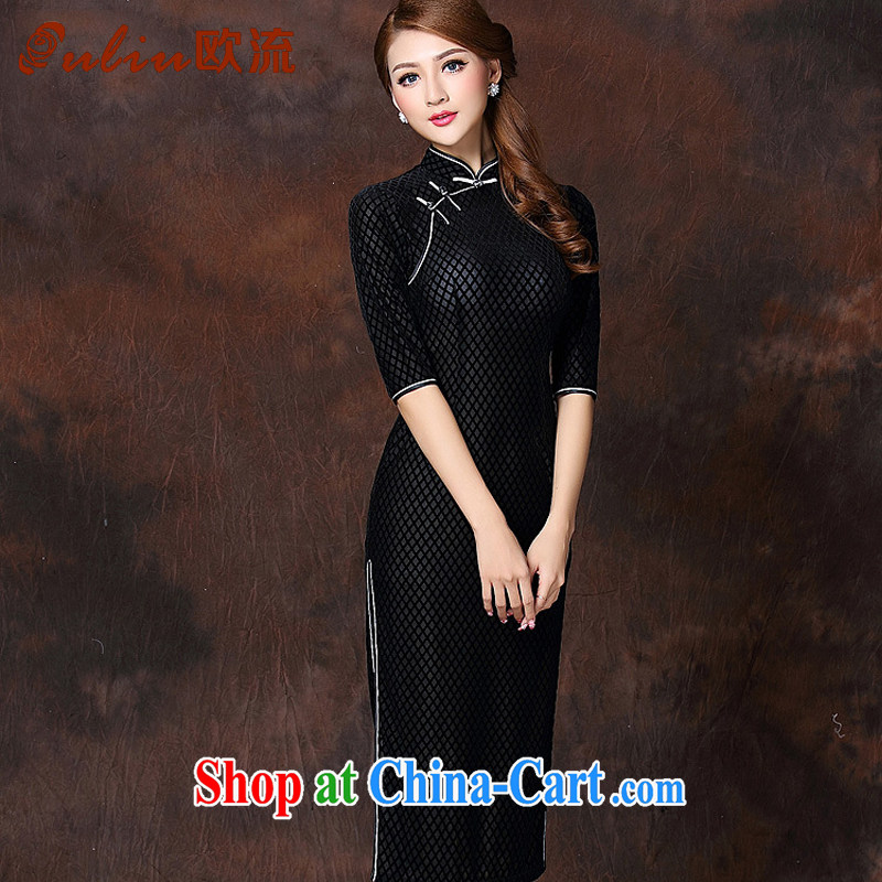 The flow improved Stylish retro long elegance velvet cheongsam dress XWG 141,007 black XXXL