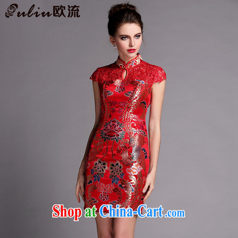 The flow improved stylish water-soluble cheongsam sexy wedding dress XWG 140,505 red XXL