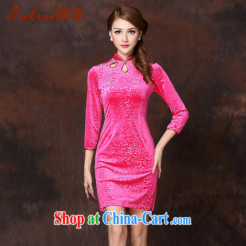 The Class A improved Stylish retro in velvet cuff short cheongsam XWG 141,002 Map Color XXXL