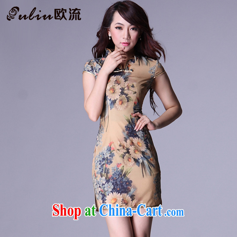 The Flow Simulation, improved Stylish retro leisure-'s short cheongsam XWG 007 - 6 Map Color XXL