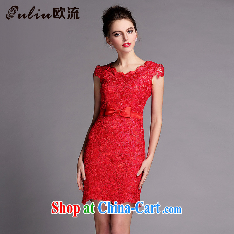 The flow improved cheongsam water soluble biological empty red banquet ceremony petal collar front bowtie bridal toast XWG serving 140,504 red XL