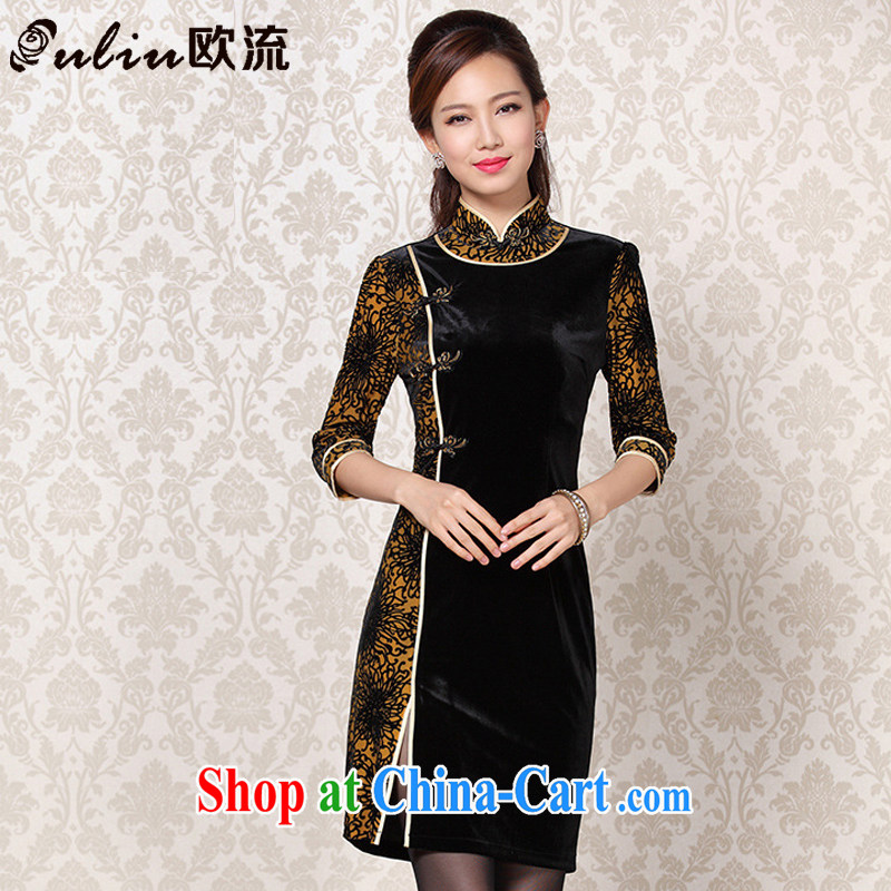 The flow improved Stylish retro wool stitching in short sleeves cheongsam XWG 13 - 6092 black L