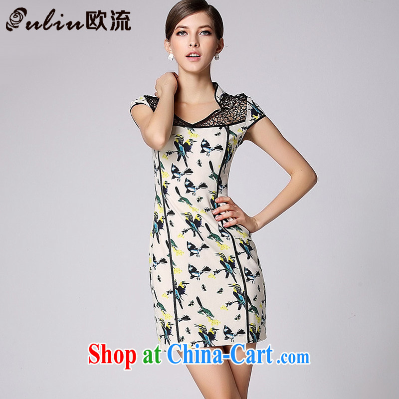 The flow improved stylish dresses skirt short-sleeved biological empty the maize cheongsam XWG 140,401 Map Color XXL