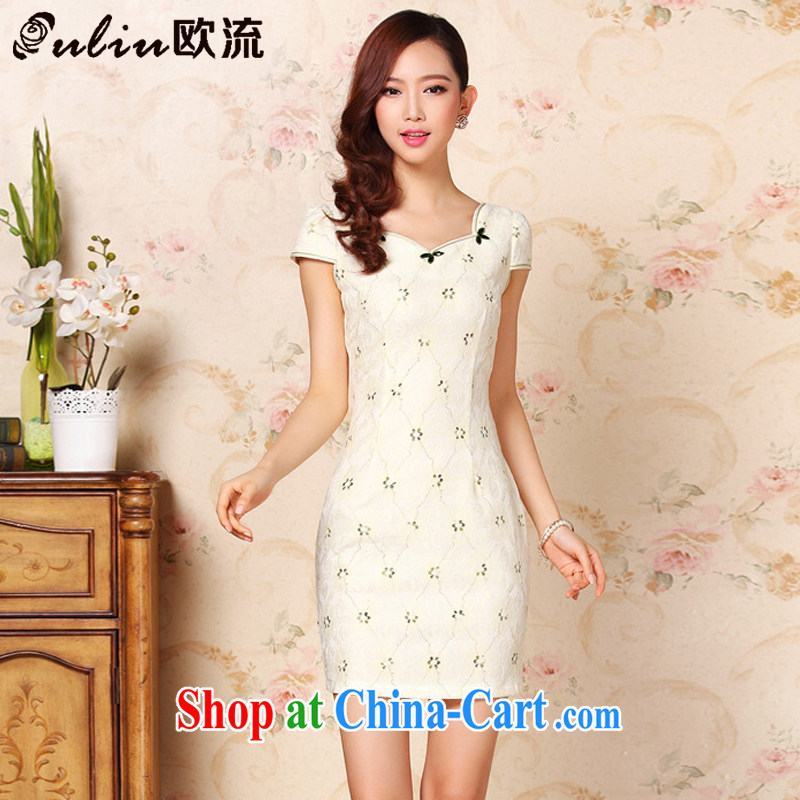 The summer flow improved fashion without the forklift truck daily leisure sober short cheongsam dress XWG 331 Map Color XXL